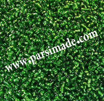 تصویر منجوق شیشه ای سبز رنگ