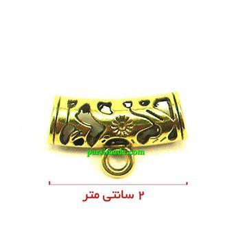 آویز گردنبند طلایی لوله ای شکل