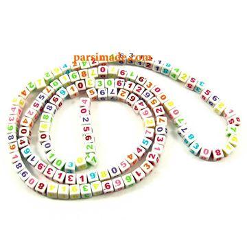 مهرههای مکعبی اکریلیک اعداد رنگارنگ لاتین