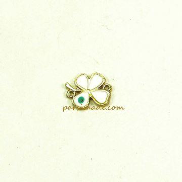 پلاک دستبندی چشم نظر گل گشنیز سفید
