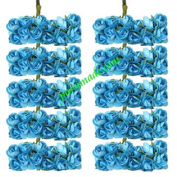 قطعه گل رز کاغذی کوچک رنگ آبی