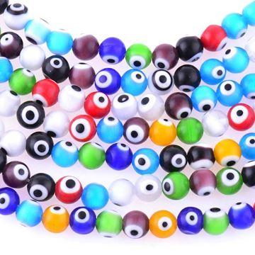 تصویر  مهره چشم نظر رنگارنگ سایز 6