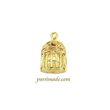 آویز گردنبندی طلایی مروارید در قفس